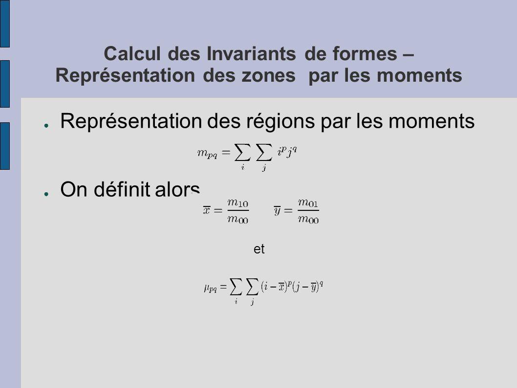 Calcul des Invariants de formes – Représentation des zones par les moments Représentation des régions par les moments On définit alors et