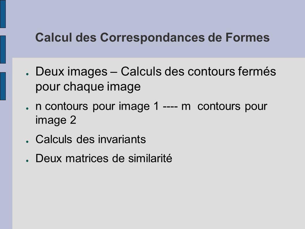Calcul des Correspondances de Formes Deux images – Calculs des contours fermés pour chaque image n contours pour image 1 ---- m contours pour image 2