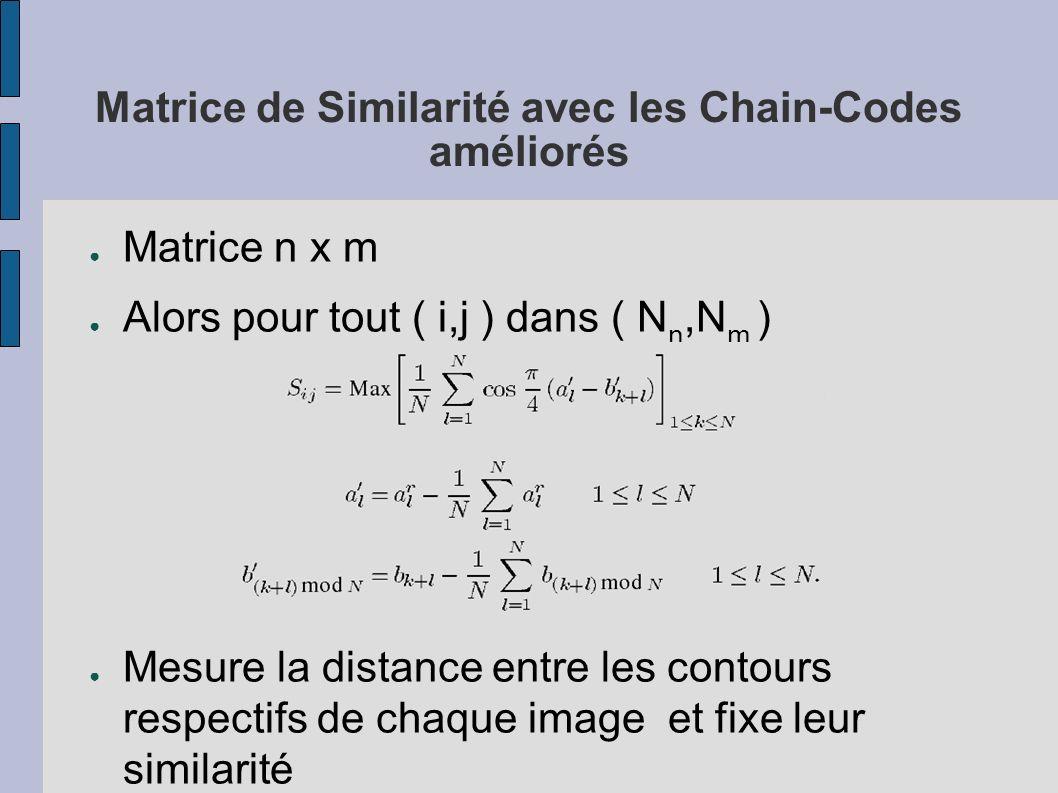 Matrice de Similarité avec les Chain-Codes améliorés Matrice n x m Alors pour tout ( i,j ) dans ( N n,N m ) Mesure la distance entre les contours resp