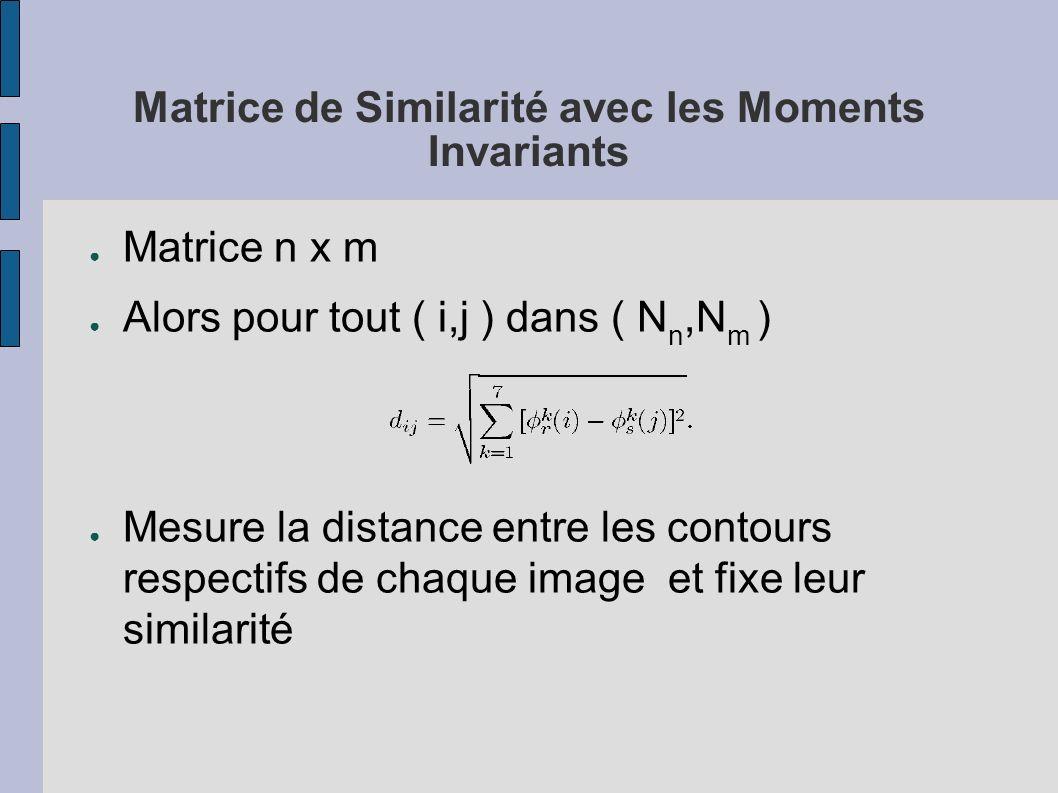 Matrice de Similarité avec les Moments Invariants Matrice n x m Alors pour tout ( i,j ) dans ( N n,N m ) Mesure la distance entre les contours respect