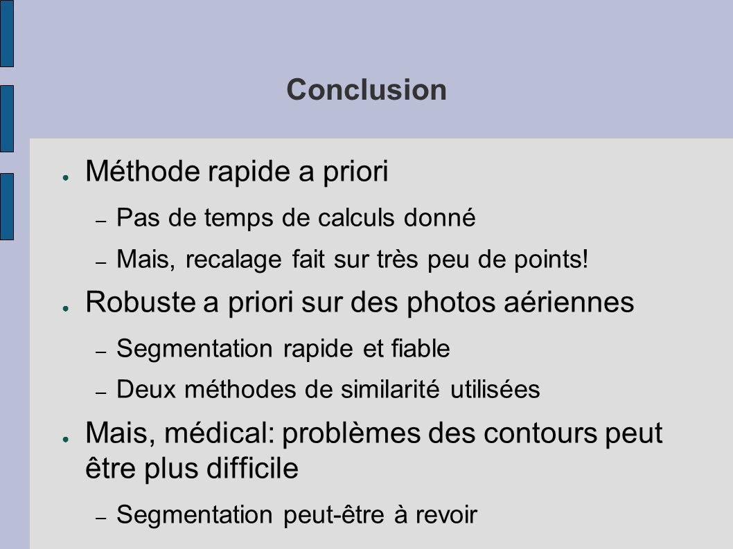 Conclusion Méthode rapide a priori – Pas de temps de calculs donné – Mais, recalage fait sur très peu de points! Robuste a priori sur des photos aérie