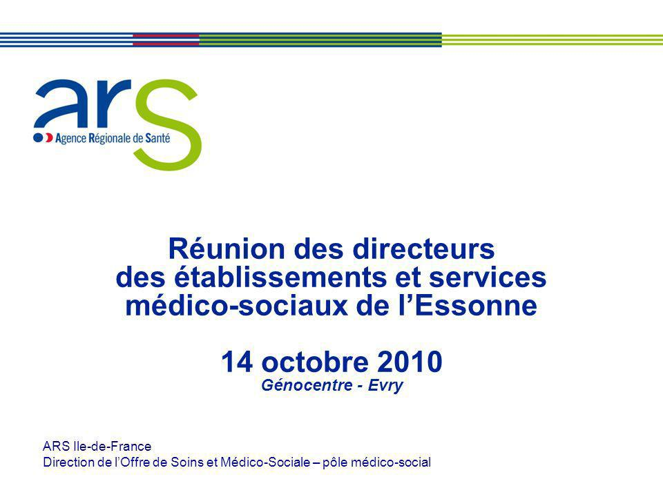 Réunion des directeurs des établissements et services médico-sociaux de lEssonne 14 octobre 2010 Génocentre - Evry ARS Ile-de-France Direction de lOff