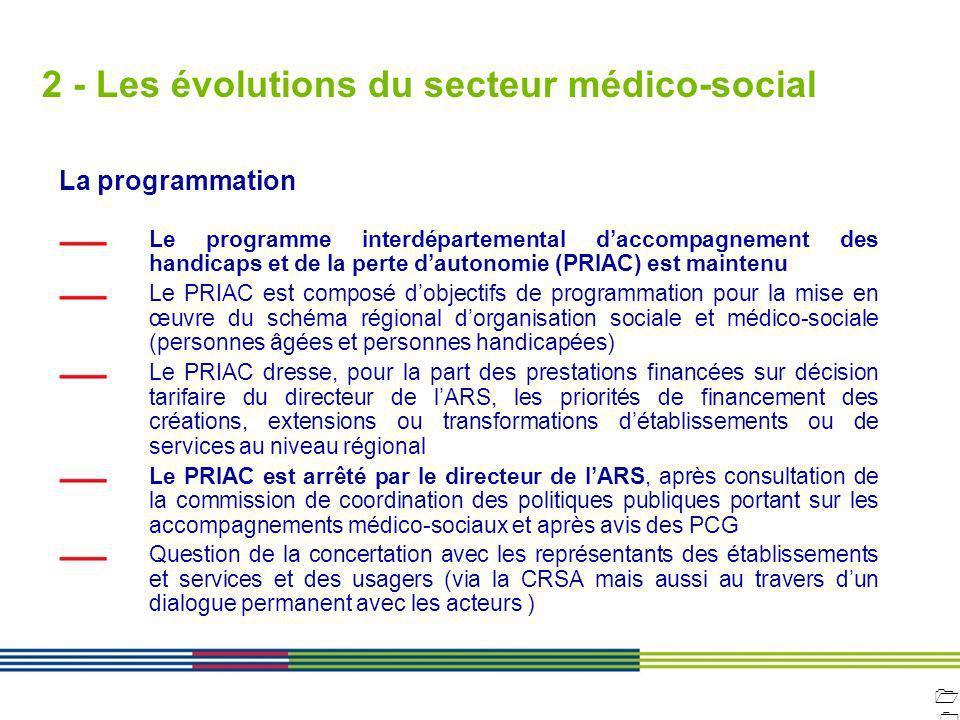 1010 ARS Ile de France Direction de loffre de soins et médico-sociale 12 avril 2010 Diapositive : 10 2 - Les évolutions du secteur médico-social La pr