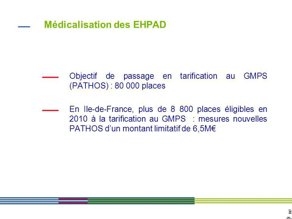 2727 ARS Ile de France Direction de loffre de soins et médico-sociale 12 avril 2010 Diapositive : 27 Médicalisation des EHPAD Objectif de passage en t