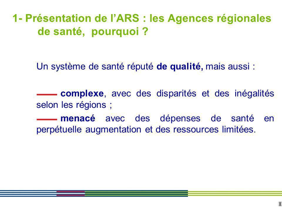 3 ARS Ile de France Direction de loffre de soins et médico-sociale 12 avril 2010 Diapositive : 3 1- Présentation de lARS : les Agences régionales de s