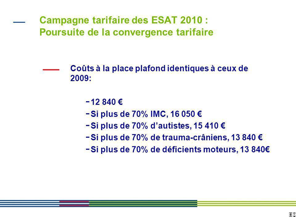 36 ARS Ile de France Direction de loffre de soins et médico-sociale 12 avril 2010 Diapositive : 36 Campagne tarifaire des ESAT 2010 : Poursuite de la