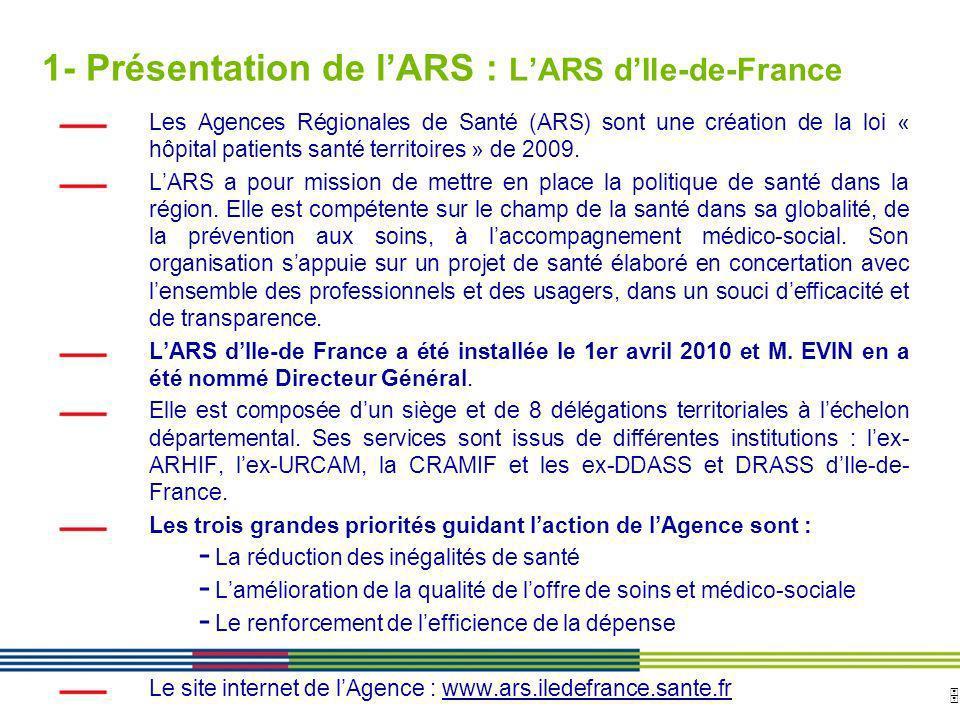 5 ARS Ile de France Direction de loffre de soins et médico-sociale 12 avril 2010 Diapositive : 5 1- Présentation de lARS : LARS dIle-de-France Les Age