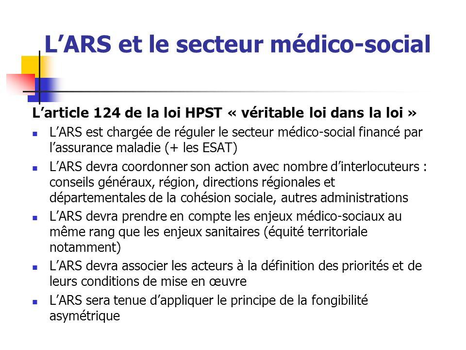 LARS et le secteur médico-social Larticle 124 de la loi HPST « véritable loi dans la loi » LARS est chargée de réguler le secteur médico-social financ