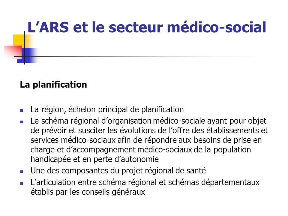 LARS et le secteur médico-social La planification La région, échelon principal de planification Le schéma régional dorganisation médico-sociale ayant