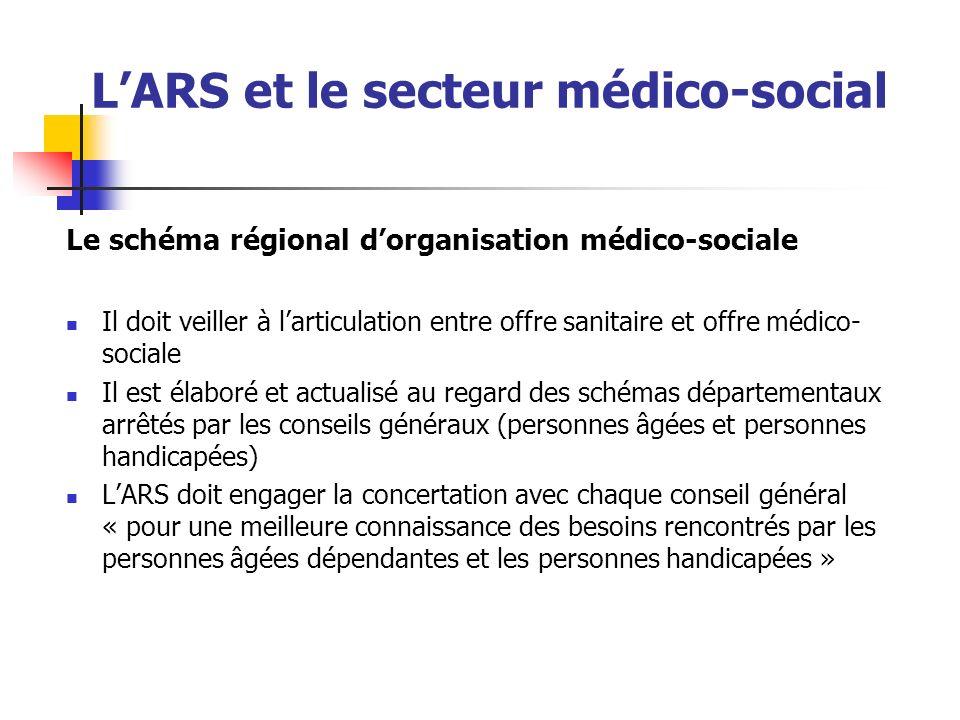 LARS et le secteur médico-social Le schéma régional dorganisation médico-sociale Il doit veiller à larticulation entre offre sanitaire et offre médico