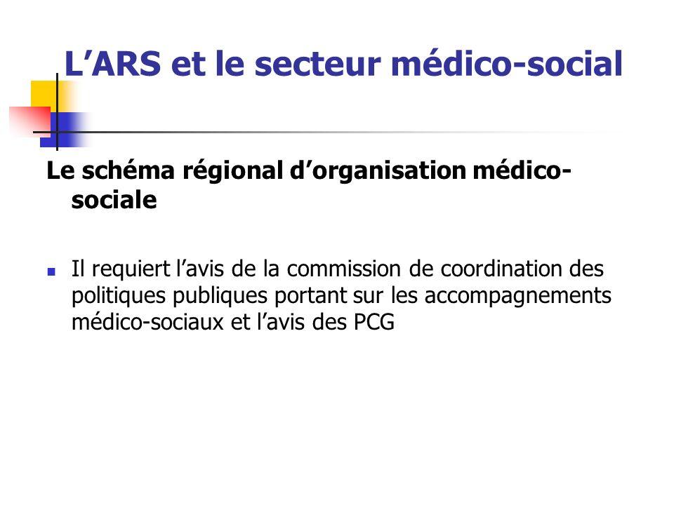 LARS et le secteur médico-social Le schéma régional dorganisation médico- sociale Il requiert lavis de la commission de coordination des politiques pu