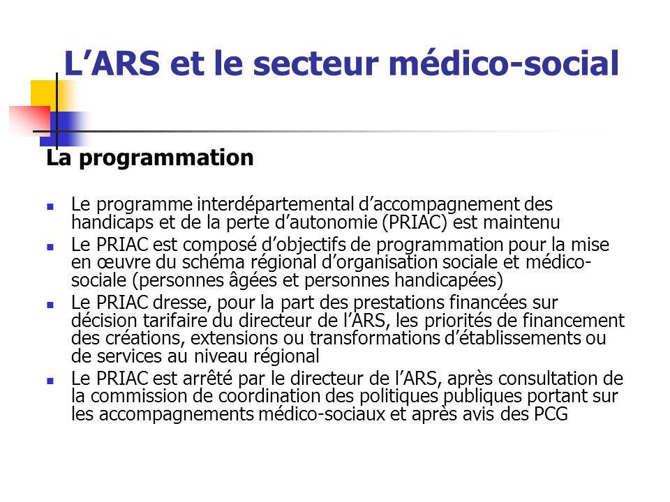 LARS et le secteur médico-social La programmation Le programme interdépartemental daccompagnement des handicaps et de la perte dautonomie (PRIAC) est