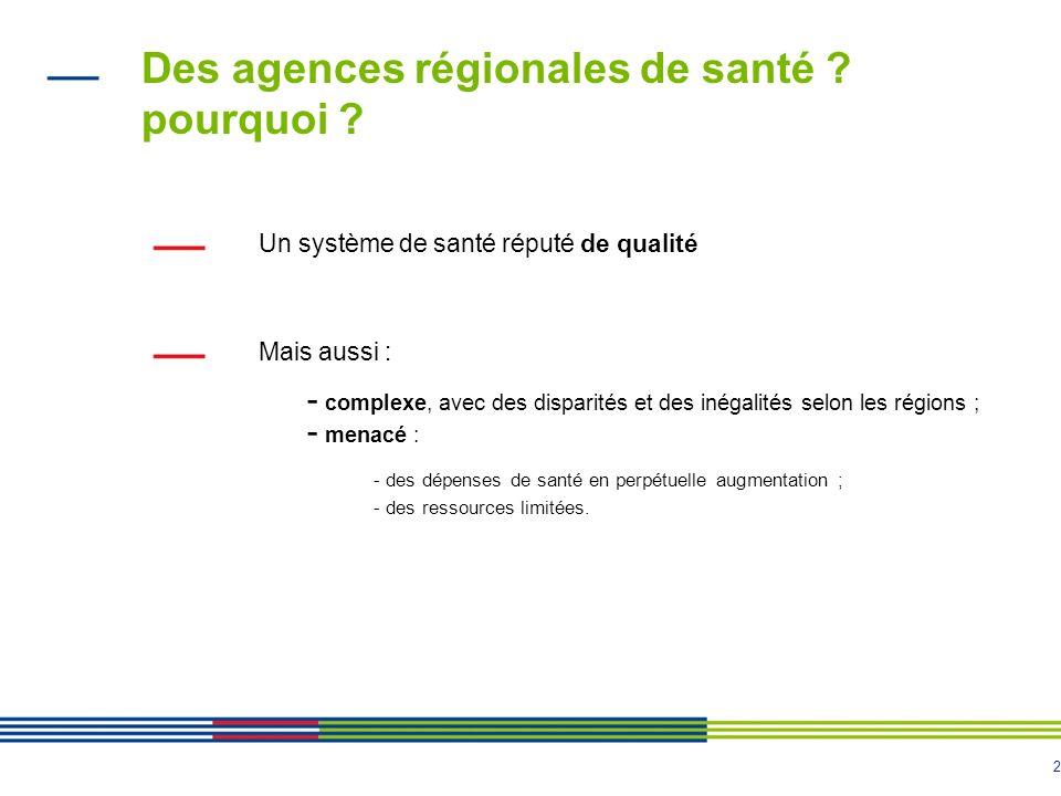 2 Des agences régionales de santé ? pourquoi ? Un système de santé réputé de qualité Mais aussi : - complexe, avec des disparités et des inégalités se