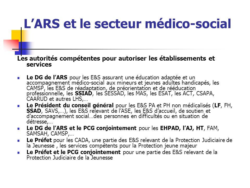 LARS et le secteur médico-social Les autorités compétentes pour autoriser les établissements et services Le DG de lARS pour les E&S assurant une éduca