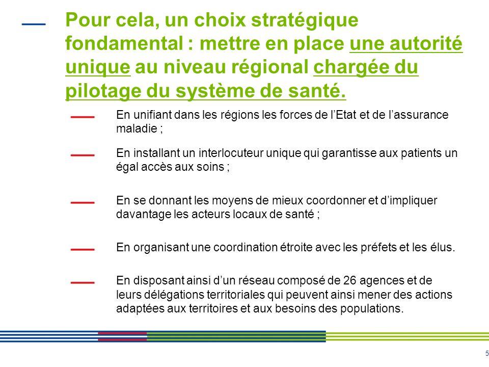 5 Pour cela, un choix stratégique fondamental : mettre en place une autorité unique au niveau régional chargée du pilotage du système de santé. En uni