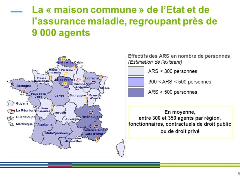 6 La « maison commune » de lEtat et de lassurance maladie, regroupant près de 9 000 agents Effectifs des ARS en nombre de personnes (Estimation de lex
