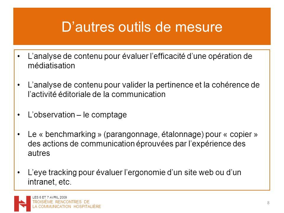 Dautres outils de mesure Lanalyse de contenu pour évaluer lefficacité dune opération de médiatisation Lanalyse de contenu pour valider la pertinence e