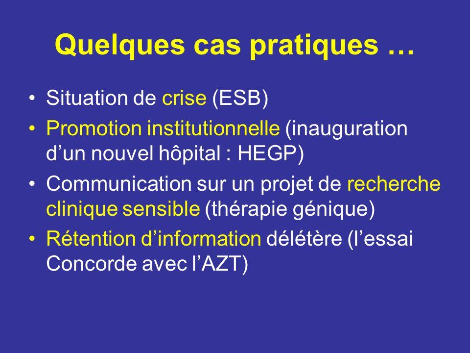Quelques cas pratiques … Situation de crise (ESB) Promotion institutionnelle (inauguration dun nouvel hôpital : HEGP) Communication sur un projet de r