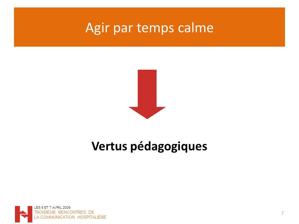 Agir par temps calme 7 LES 6 ET 7 AVRIL 2009 TROISIÈME RENCONTRES DE LA COMMUNICATION HOSPITALIÈRE Vertus pédagogiques