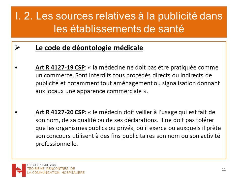 I. 2. Les sources relatives à la publicité dans les établissements de santé Le code de déontologie médicale Art R 4127-19 CSP: « la médecine ne doit p