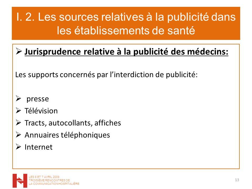 I. 2. Les sources relatives à la publicité dans les établissements de santé Jurisprudence relative à la publicité des médecins: Les supports concernés