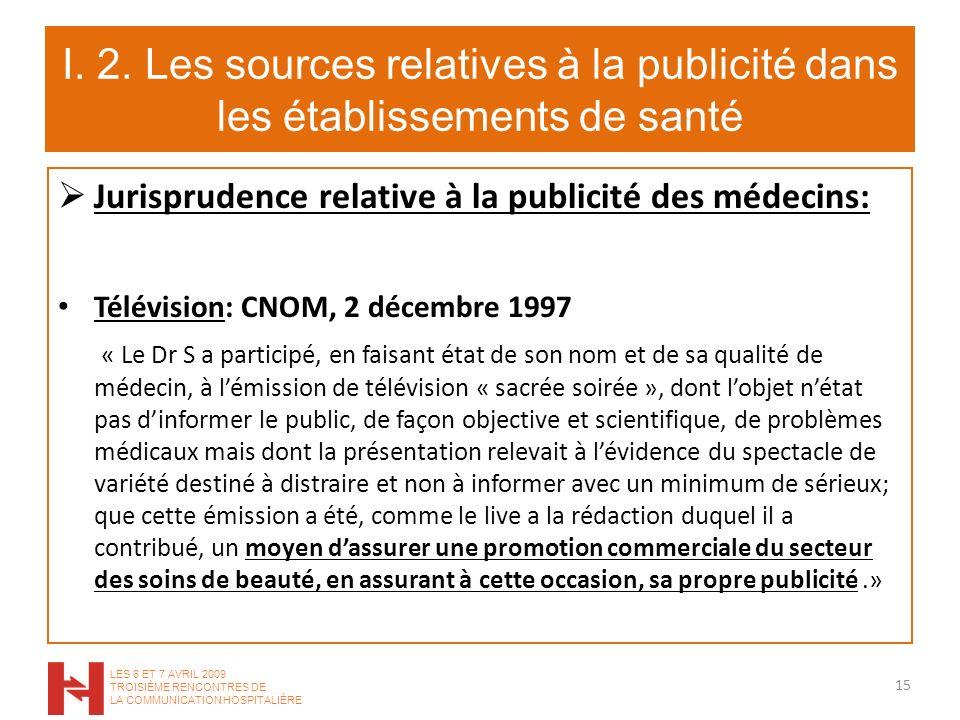 I. 2. Les sources relatives à la publicité dans les établissements de santé Jurisprudence relative à la publicité des médecins: Télévision: CNOM, 2 dé