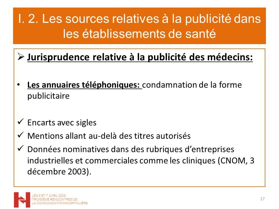 I. 2. Les sources relatives à la publicité dans les établissements de santé Jurisprudence relative à la publicité des médecins: Les annuaires téléphon