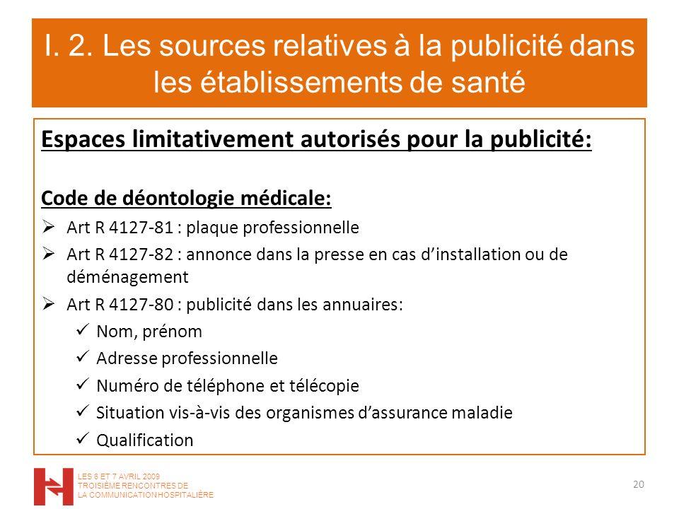 I. 2. Les sources relatives à la publicité dans les établissements de santé Espaces limitativement autorisés pour la publicité: Code de déontologie mé