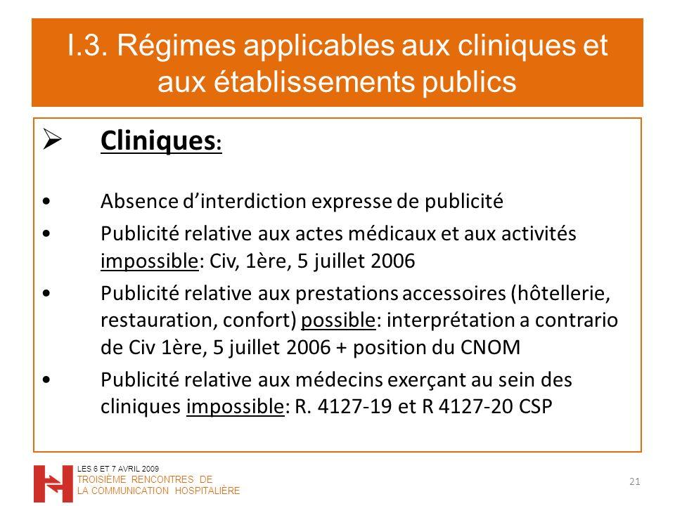 I.3. Régimes applicables aux cliniques et aux établissements publics Cliniques : Absence dinterdiction expresse de publicité Publicité relative aux ac