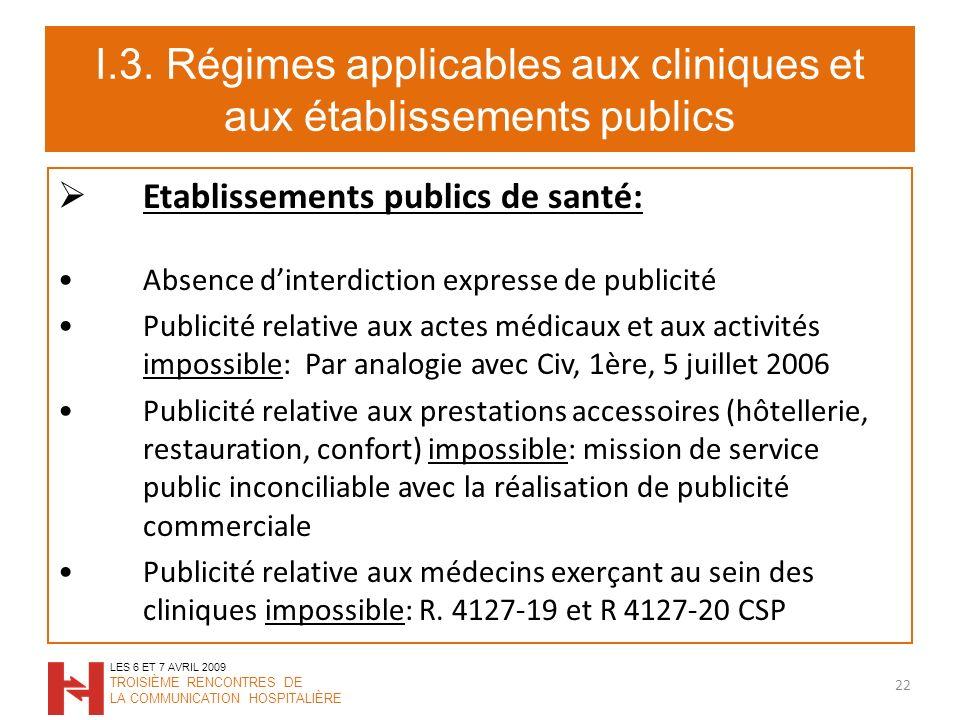 I.3. Régimes applicables aux cliniques et aux établissements publics Etablissements publics de santé: Absence dinterdiction expresse de publicité Publ