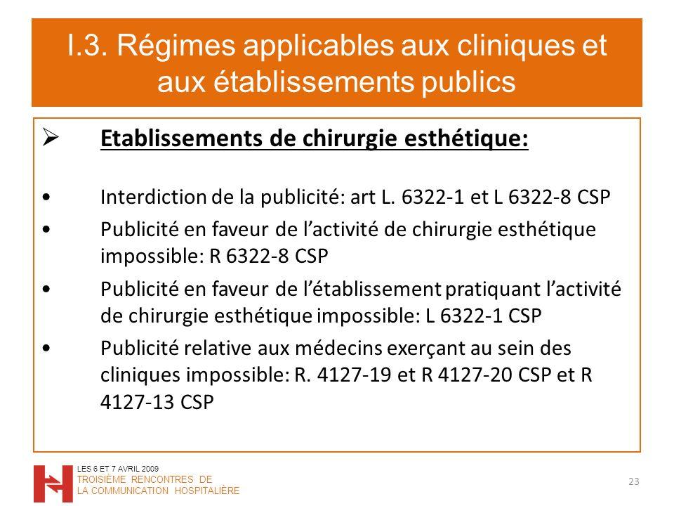 I.3. Régimes applicables aux cliniques et aux établissements publics Etablissements de chirurgie esthétique: Interdiction de la publicité: art L. 6322