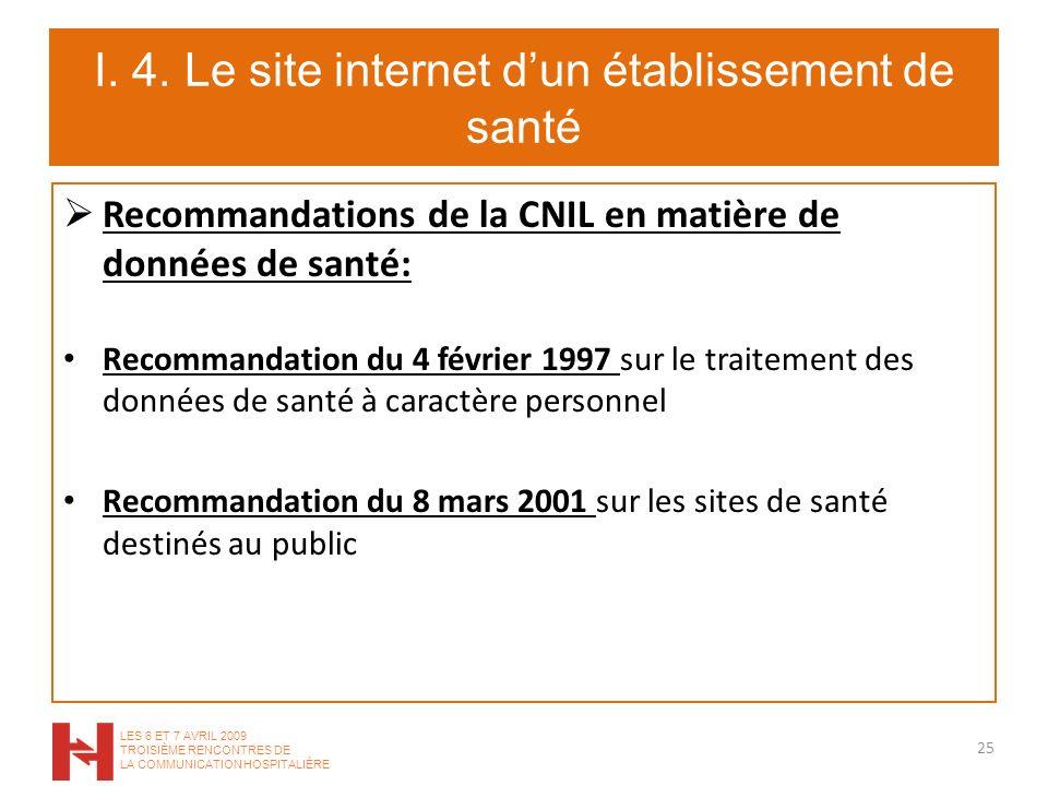 I. 4. Le site internet dun établissement de santé Recommandations de la CNIL en matière de données de santé: Recommandation du 4 février 1997 sur le t