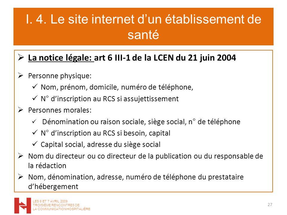 I. 4. Le site internet dun établissement de santé La notice légale: art 6 III-1 de la LCEN du 21 juin 2004 Personne physique: Nom, prénom, domicile, n