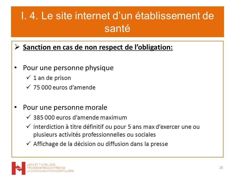 I. 4. Le site internet dun établissement de santé Sanction en cas de non respect de lobligation: Pour une personne physique 1 an de prison 75 000 euro