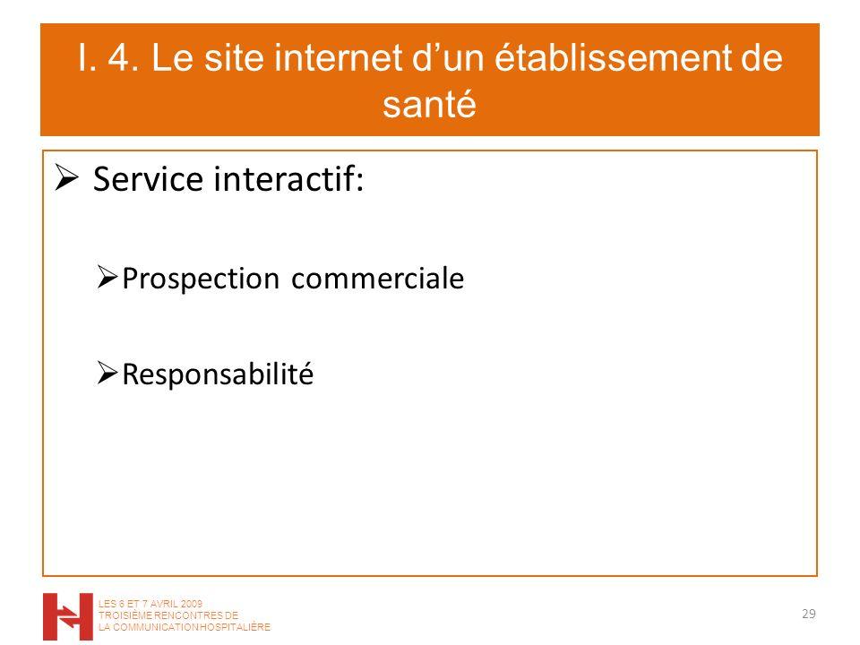 I. 4. Le site internet dun établissement de santé Service interactif: Prospection commerciale Responsabilité 29 LES 6 ET 7 AVRIL 2009 TROISIÈME RENCON