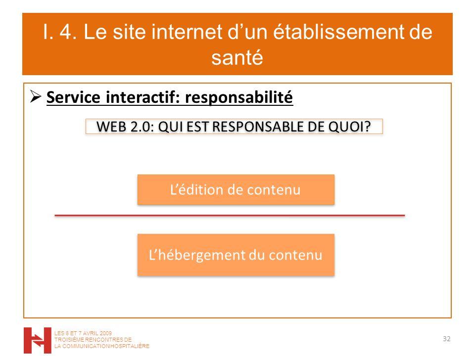 I. 4. Le site internet dun établissement de santé Service interactif: responsabilité 32 LES 6 ET 7 AVRIL 2009 TROISIÈME RENCONTRES DE LA COMMUNICATION