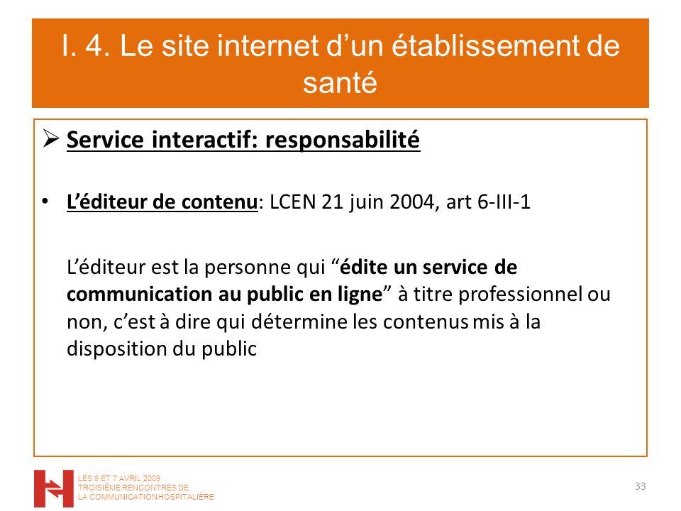 I. 4. Le site internet dun établissement de santé Service interactif: responsabilité Léditeur de contenu: LCEN 21 juin 2004, art 6-III-1 Léditeur est