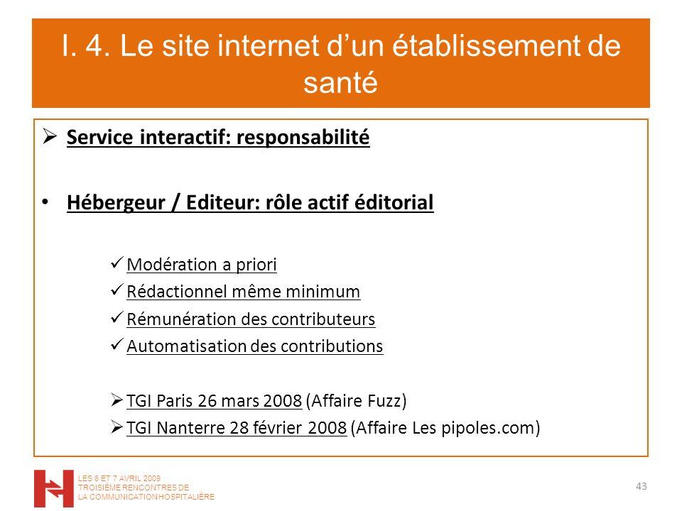 I. 4. Le site internet dun établissement de santé Service interactif: responsabilité Hébergeur / Editeur: rôle actif éditorial Modération a priori Réd