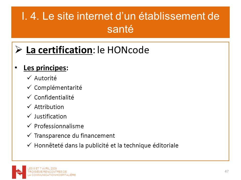 I. 4. Le site internet dun établissement de santé La certification: le HONcode Les principes: Autorité Complémentarité Confidentialité Attribution Jus
