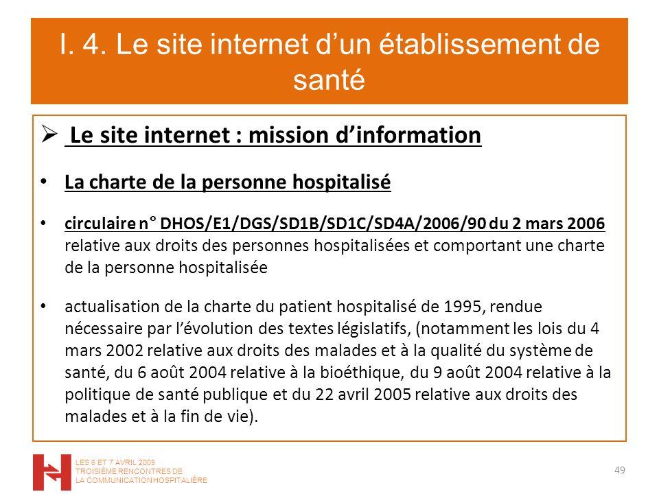 I. 4. Le site internet dun établissement de santé Le site internet : mission dinformation La charte de la personne hospitalisé circulaire n° DHOS/E1/D