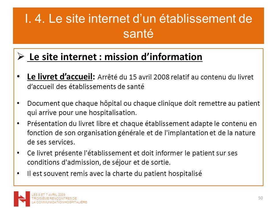 I. 4. Le site internet dun établissement de santé Le site internet : mission dinformation Le livret daccueil: Arrêté du 15 avril 2008 relatif au conte