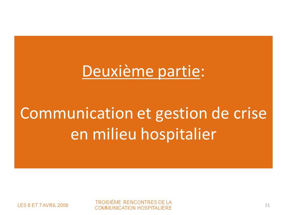 Deuxième partie: Communication et gestion de crise en milieu hospitalier LES 6 ET 7 AVRIL 2009 TROISIÈME RENCONTRES DE LA COMMUNICATION HOSPITALIÈRE 5