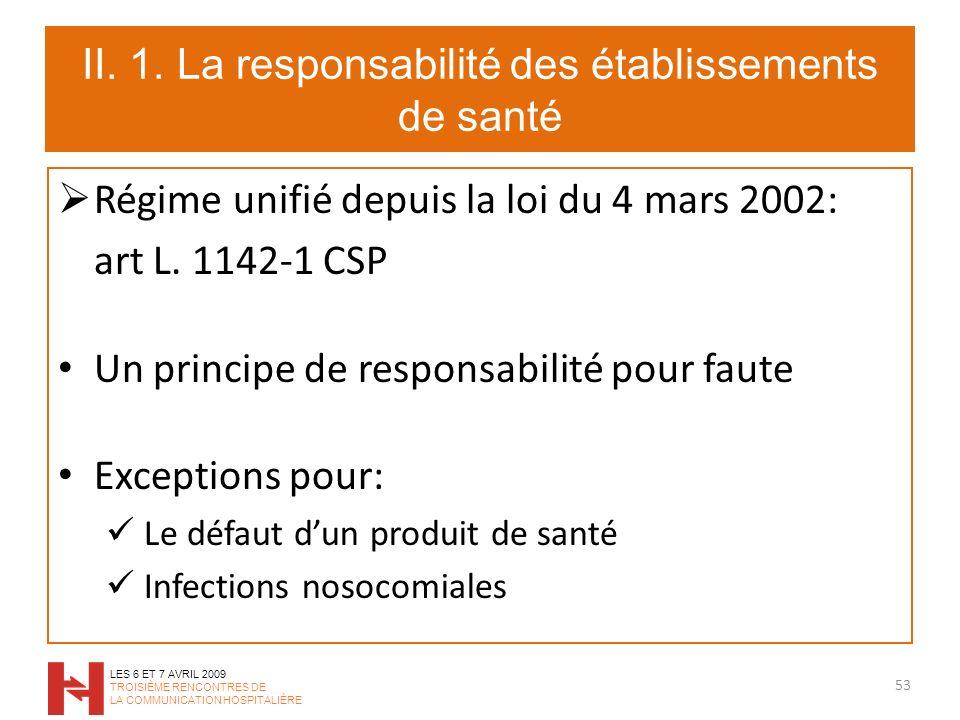 II. 1. La responsabilité des établissements de santé Régime unifié depuis la loi du 4 mars 2002: art L. 1142-1 CSP Un principe de responsabilité pour