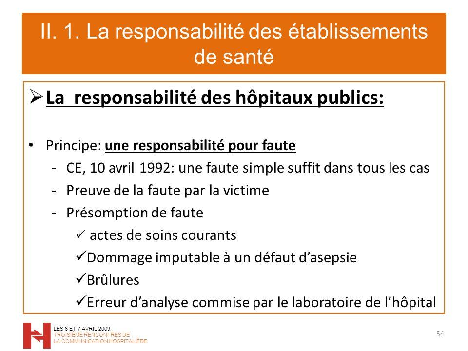 II. 1. La responsabilité des établissements de santé La responsabilité des hôpitaux publics: Principe: une responsabilité pour faute -CE, 10 avril 199