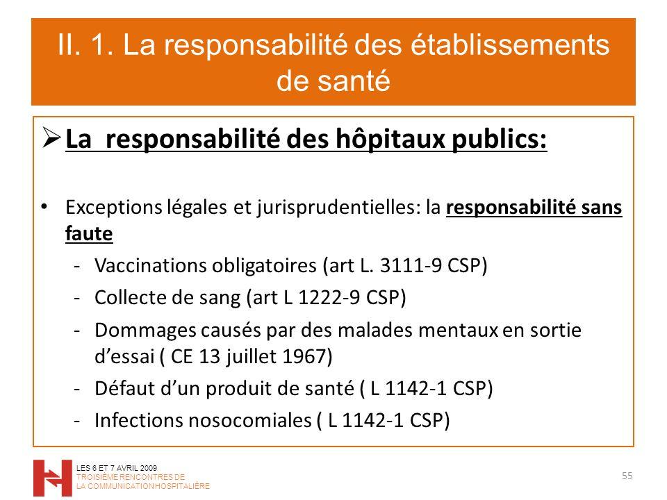 II. 1. La responsabilité des établissements de santé La responsabilité des hôpitaux publics: Exceptions légales et jurisprudentielles: la responsabili