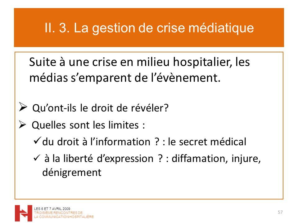 II. 3. La gestion de crise médiatique Suite à une crise en milieu hospitalier, les médias semparent de lévènement. Quont-ils le droit de révéler? Quel