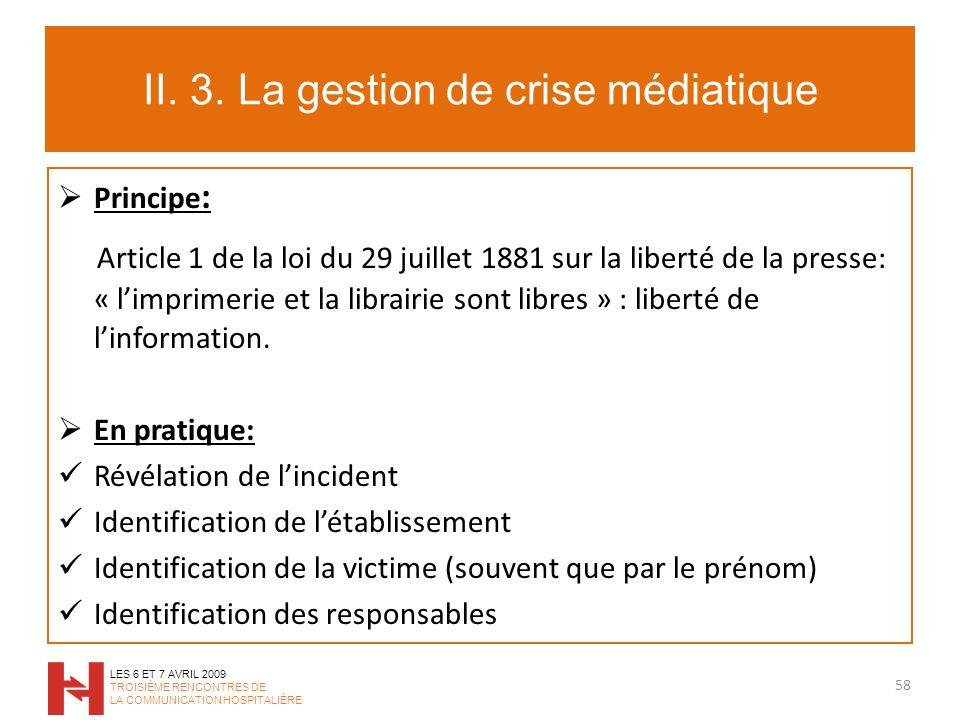 II. 3. La gestion de crise médiatique Principe : Article 1 de la loi du 29 juillet 1881 sur la liberté de la presse: « limprimerie et la librairie son
