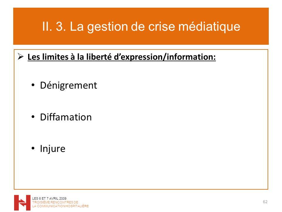 II. 3. La gestion de crise médiatique Les limites à la liberté dexpression/information: Dénigrement Diffamation Injure 62 LES 6 ET 7 AVRIL 2009 TROISI