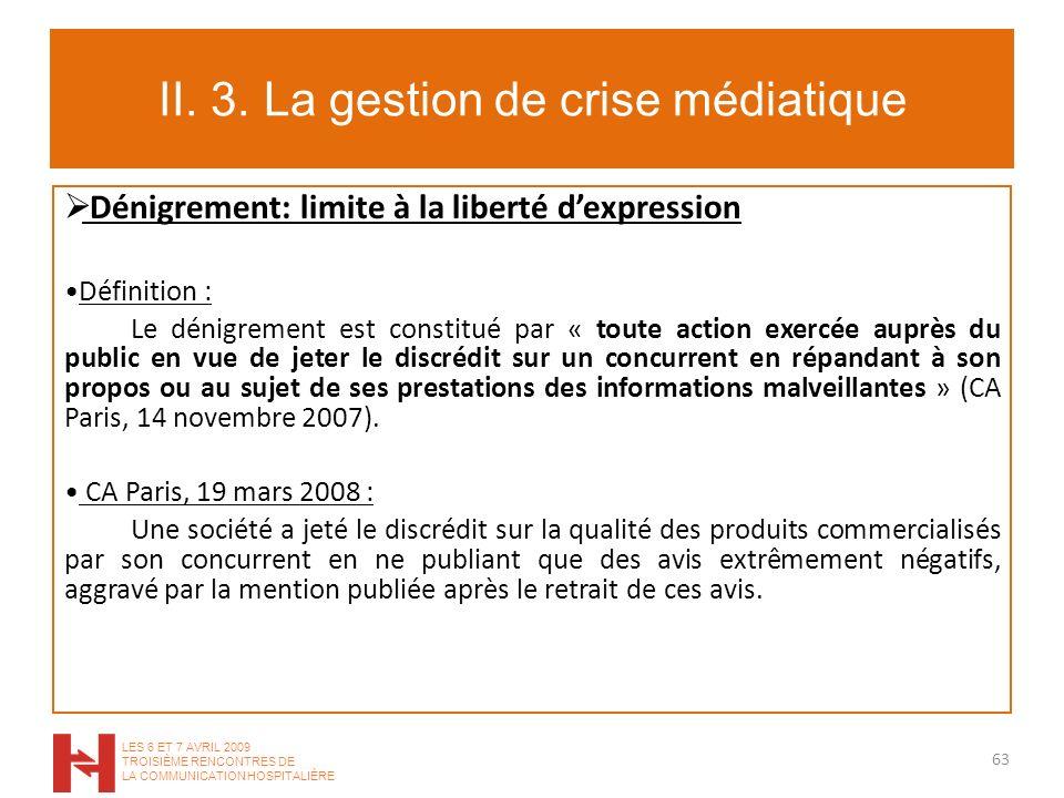 II. 3. La gestion de crise médiatique Dénigrement: limite à la liberté dexpression Définition : Le dénigrement est constitué par « toute action exercé