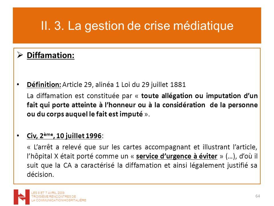 II. 3. La gestion de crise médiatique Diffamation: Définition: Article 29, alinéa 1 Loi du 29 juillet 1881 La diffamation est constituée par « toute a
